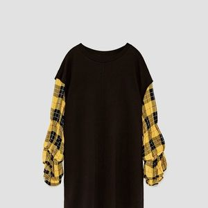 Woman Checked Combination Dress